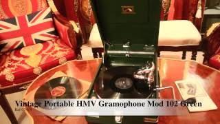 Vintage Portable HMV Gramophone Mod 102 Green