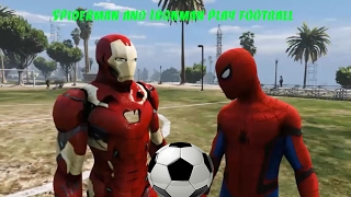 Spiderman and Ironman play football - Funny movie for kids