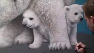 Hyper-realistic polar bear painting by Dutch artist MARCEL WITTE