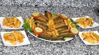 وجبة صيفية / سردين صحي مقرمش بدون قلي وبطاطس مقرمشة بدون قلي ولا أروع