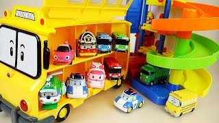 Robocar Poli School bus and Parking Tower Pororo Tayo car toys play