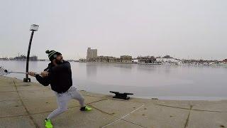 Paul Rabil Throws a Lacrosse Ball Across Baltimore Harbor
