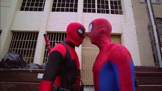 Deadpool vs Spiderman  - Deadpool Cosplay Superhero Parkour for kids