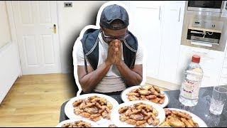 EATING 100 CHICKEN WINGS AND DRINKING A GLASS OF VINEGAR