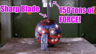 150 Ton Hydraulic Guillotine Vs. Bowling Ball and Nokia 3310 | in 4K