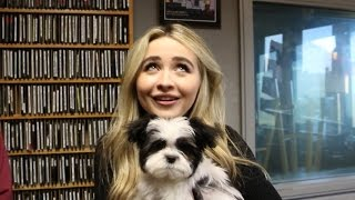 We make Sabrina Carpenter hold a PUPPY during our interview....