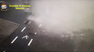 CCTV footage shows moment of bridge collapse in Genoa