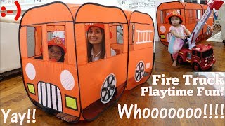 A Play Tent Playtime Fun! A Fire Truck Play Tent. Firefighter Pretend Play. Ride-On Fire Truck Toy
