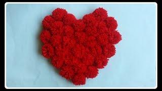 Pom Pom heart pillow | DIY wollen crafts | Valentine gift ideas