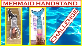 Mermaid Handstand Challenge & Human Gymnastics Skills ~ floor to stairs BACKBEND!