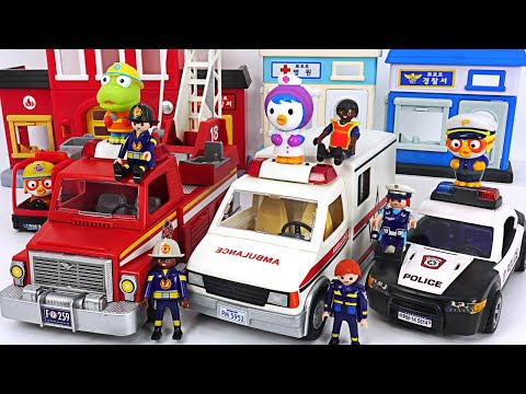 Playmobil Police car Ambulance Fire truck move Let s arrest the villain PinkyPopTOY