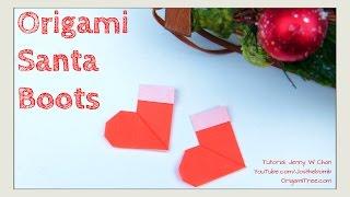 Christmas Crafts DIY- Origami Stockings, Christmas Santa Boots-Paper Crafts Kids