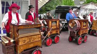 NETHERLANDS six handorgans playing together in Joure (hd-video)