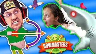 MOMMY, CAN I SHOOT A SHARK PWEEEZ?! 🌊 BOWMASTERS Game w/ BAD BABY FGTEEV Duddy Chunky Boy (Skit)