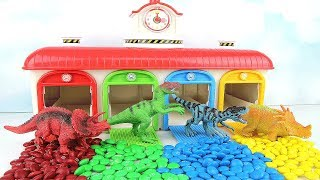 Learn Names of Dinosaurs with Tayo M&M. Learning dinosaur Toys T Rex 4D Puzzle Eggs Colours for Kids