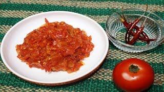 ভাজা টমেটো ভর্তার সেই রকম স্বাদ   tomato bhorta recipe   homemade tomato & begun vorta recipe   2017