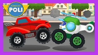 Monster truck VS Broomstown rescue team | English play for Kids | Robocar Poli Game