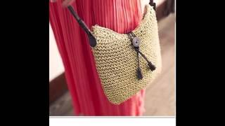 Women Crochet Sling Shoulder Handbag Cross Body Beach Bag Summer Purse (Beige)