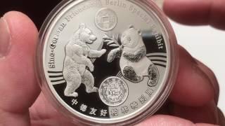 2017 World Money Fair Berlin Silver 1 oz and 8g Panda Medals