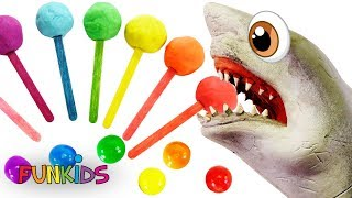 Play doh Lollipops with Finger Family Learn Colors Baby Shark