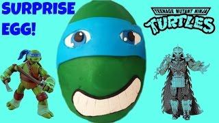 Giant Teenage Mutant Ninja Turtle Play Doh Surprise Egg TMNT Leonard Mikey Sewage Cruiser Shredder