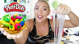 MIXING PLAY DOH INTO CLEAR SLIME!