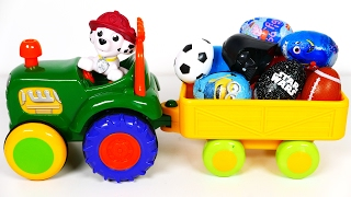 Paw Patrol Pup Rides on a Tractor filled with Many Surprise Eggs for Kids