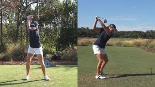 STACY LEWIS - SYNCED DRIVER GOLF SWING DTL & FACE ON - REG & SLOW MOTION 1080p HD