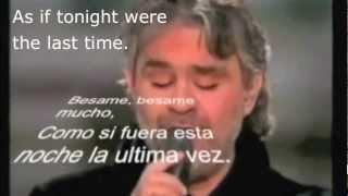 Besame mucho Andrea Bocelli with Spanish lyrics, subtitles and English translation    YouTube