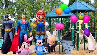 Batman Superman Minnie Mouse Mickey Mouse Boss Baby Mario Easter Egg Hunt at Park And Learn Colors