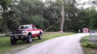 1996 Ford F250 pulling tree down
