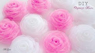ORGANZA FLOWER / DIY Beautiful Organza Roses / РОЗЫ ИЗ ОРГАНЗЫ, МК