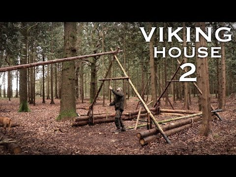 Building a Viking House in the Forest Timber Frame Bushcraft Project PART 2