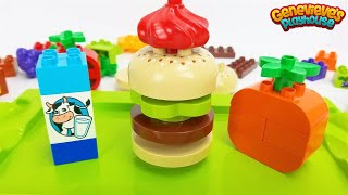 Toy Food Best Preschool Learning Video for Kids Lego Duplo Bricks Hamburger Shop Pretend Play