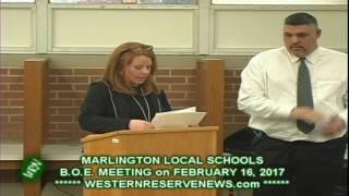 Marlington Local Schools Stark County Ohio Board of Education Meeting February 16, 2017