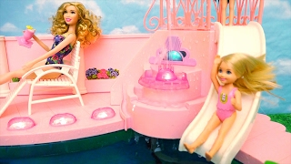 Barbie Toys Fountain Swimming Pool - Chelsea Feels Bad She Doesn't Know How to Swim & Her Friends Do