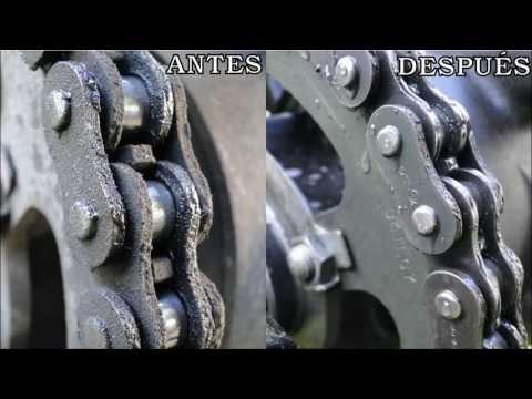 Limpieza de cadena de moto en 30 segundos y sin tocarla