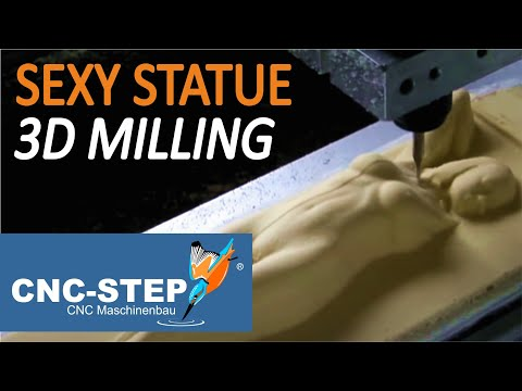 Sexy Girl Statue 3D CNC Router milling in resin with High Speed / Real time Video