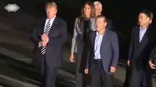 Donald J. Trump Greets freed American detainees at Arrival in US  | BBC News