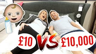 £10 BED vs £10,000 BED SHOPPiNG FOR PREGNANT MUM! 👶