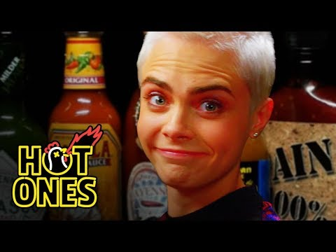 Xxx Mp4 Cara Delevingne Shows Her Hot Sauce Balls While Eating Spicy Wings Hot Ones 3gp Sex