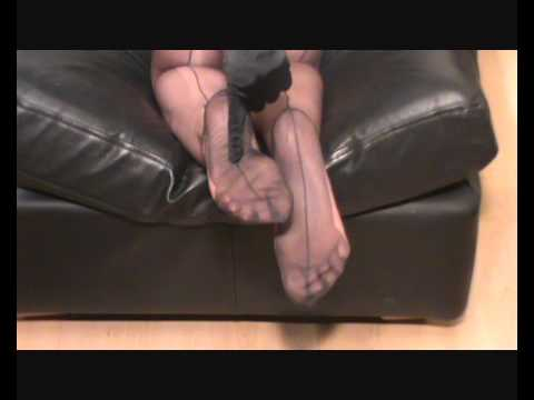 My pretty feet and toes in FF dark grey nylon stockings legsnfeetntoes