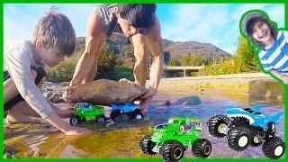 Monster Trucks Build a Dam