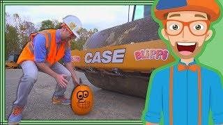 Blippi Halloween Song | Crushes Pumpkin with Roller Construction Vehicle
