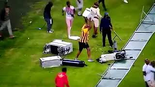 KaizerChiefs Fans destroy television cameras at #MosesMabhidaStadium after Chiefs lose 2-0 to Free