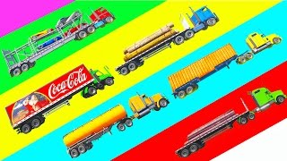 Learn Vehicles & Colors l Spiderman Stunt with Truck Trailers l Cartoon 3D for Kids