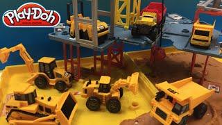 PlayDoh fun with Matchbox Mini Mighty Machines Excavators Bulldozer at Folding Construction Job Site