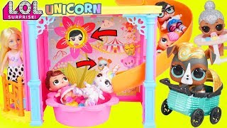 Custom LOL Surprise Doll Visits Barbie Chelsea and Baby Pets Lil Sisters + Big Customized Unicorn