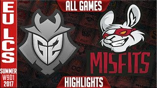 G2 Esports vs Misfits Highlights ALL GAMES EU LCS Week 9 Day 1 Summer 2017 G2 vs MF