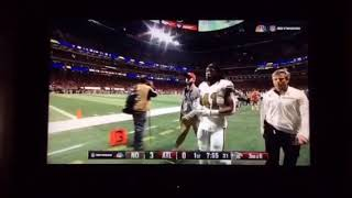 Alvin Kamara Heads Towards The Locker Rooms After Hard Hit From Dion Jones | NFL
